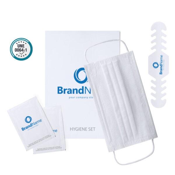 Kit de higiene y protección personalizado con mascarilla higiénica desechable 1