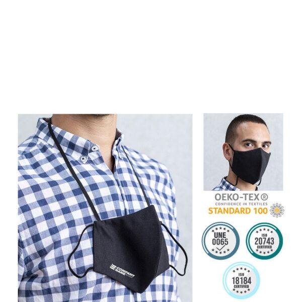 Mascarillas personalizadas reutilizables homologadas con colgador y tratamiento higienizante (algodón y poliéster) 1