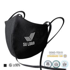 Mascarillas personalizadas reutilizables homologadas con colgador y tratamiento higienizante (algodón y poliéster)